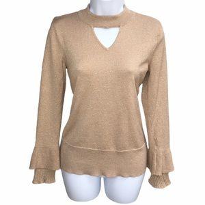 Thalia Sodi Gold Ruffle Long Sleeve Cutout Blouse